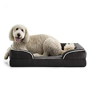 BrindleOrthopedic Memory FoamPet Bedwith Wrap Around Bolster– Plush Dog and Cat Bed–Removable VelvetCover, Extra Large, Charcoal
