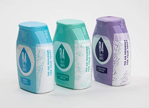 B4 Toilet Drops Toilet and Bathroom Deodorizer Drops, 3 Count, 2 Ounce Bottles (Variety Pack)
