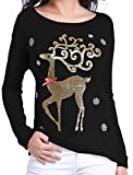v28 Varied Ugly Christmas Sweater for Women Merry Reindeer Shirt Knit Sweaters (Black M)