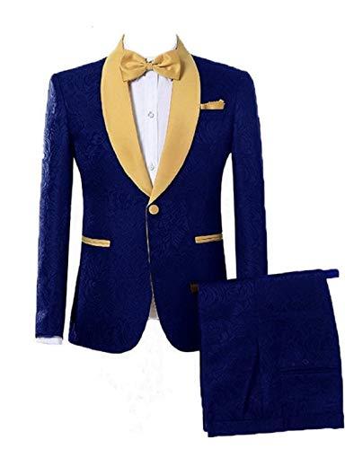 DGMJDFKDRFU Wedding Suits for Men Slim Fit Royal Blue Tuxedo Suit for Men Formal Dinner Jacket Shawl Lapel