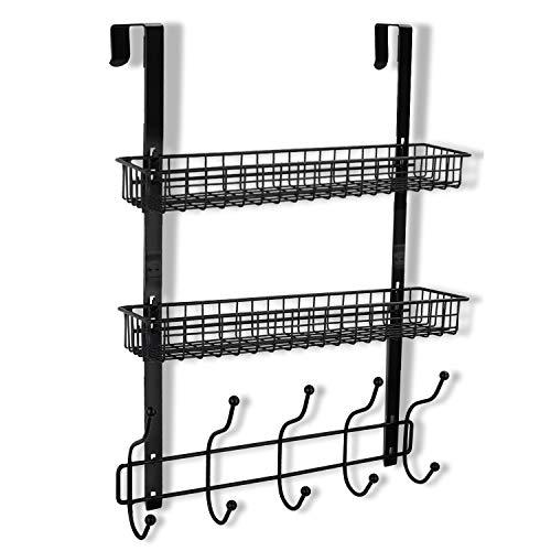 KEIMIX Coat Rack, Over The Door Hanger with Mesh Basket, Detachable Storage Shelf Organizer for Towels, Hats, Handbags, Coats (Black-2 Layer)