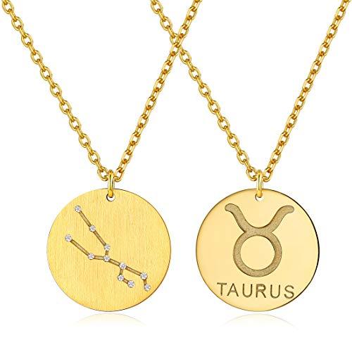 ChicSilver 12 Sternbild-Serie der Stier- Sternzeichen Anhänger Gelbgold Gold (18 Karat) Klein Rund Tierkreiszeichen Horoskop Goldkette Halskette Kettenanhänger Zodiac Round …