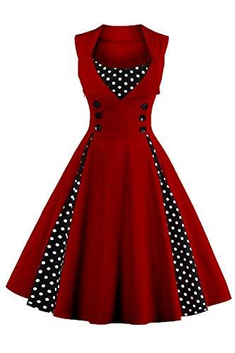Axoe Damen 50er Jahre Cocktailkleid Rockabilly Elegantes Faltenrock Festliches Partykleider Vintage Kleid Audrey Hepburn Abendkleider mit Polka Dots Knielang, Weinrot, 2XL (46 EU)