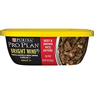 Purina Pro Plan Senior Wet Dog Food, BRIGHT MIND Beef & Brown Rice Entree – (8) 10 oz. Tubs