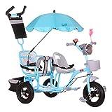 Jixi Triciclo Doble for niños Cochecito Doble Segundo niño Bicicleta de Tres...