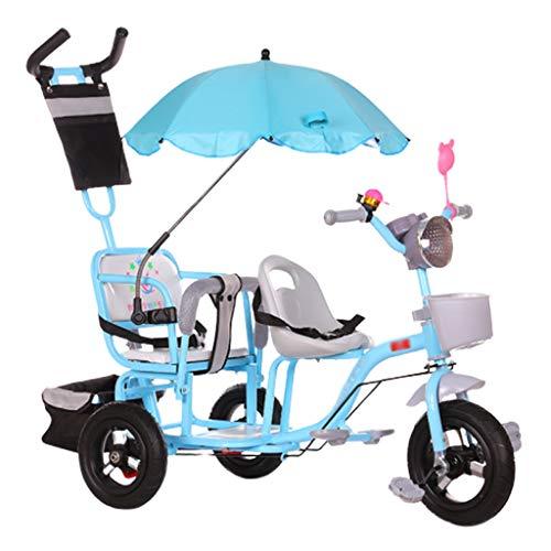 Jixi Doppel Kinder Dreirad Zwillings Kinderwagen Zweites Kind Dreirad Fahrrad Kinderwagen Große verstellbare Kinderwagen (Color : Blue)