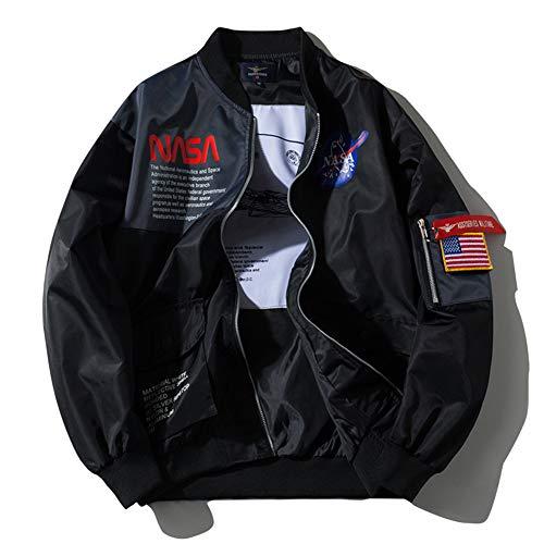 HBHHB NASA Men's Bomber Ma-1 Military Flight Jacket Coa Windproof Sportswear Patch Embroidery Coat Baseball Jacket Plus Velvet Thickening Keep Warm Couple Models,Black,XXXXL