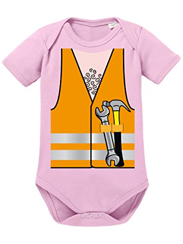 clothinx Baby Body Unisex Karneval 2019 Bauarbeiter-Kostüm Hellrosa Größe 62-68