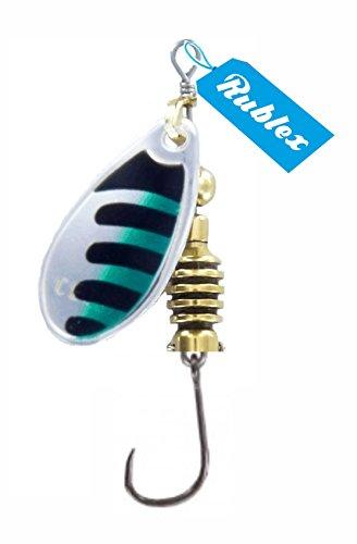 Rublex - Pack de 5 Cucharillas de Pesca Celta-2 ANV | Cebo Artificial de Pesca con Anzuelo Simple sin Muerte Fácilmente Intercambiable con Sistema Quita-Vueltas, Color Plata Negro Verde, 3'5gr