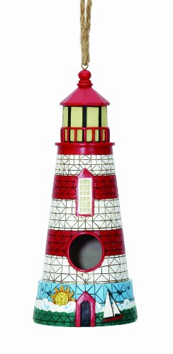 Spoontiques Lighthouse Birdhouse, Red/White