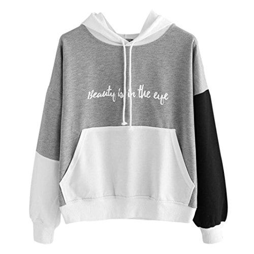Womens Letters Long Sleeve Hoodie Sweatshirt Hooded Pullover Tops Casual Blouse (L, Gray)