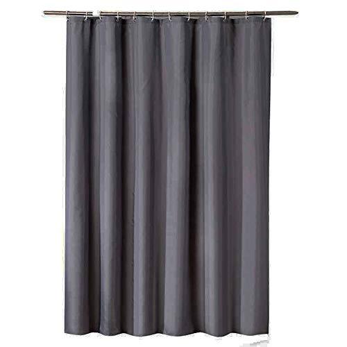 Lhh verdikte effen kleur douchegordijn polyester waterdichte meeldauw zware douchegordijn met metalen knoopsgat - (donkergrijs)