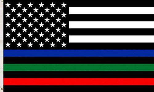 Pepiju Thin Blue Red Green Line Flag 3x5 ft Patriotic USA Honoring Police Military,First Responders & Fire Officers Flag Yard Outdoor Decoration Garden Flag by Pepiju