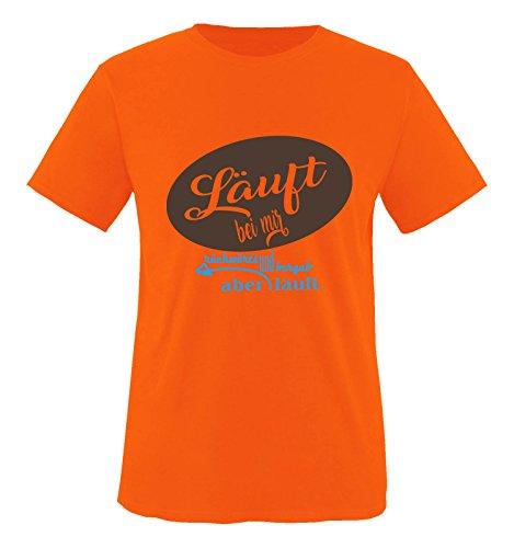 Comedy Shirts - Läuft bei Mir rückwärts und bergab Aber läuft. - Herren T-Shirt - Orange/Blau-Braun Gr. XL