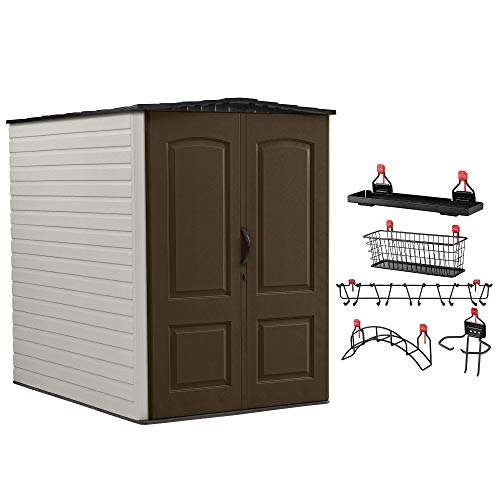 Rubbermaid 5x6 Ft Outdoor Garden Tool Vertical Storage Shed & Shelf Accessories