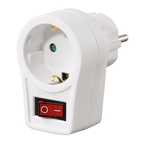 Hama - Enchufe Adaptador con botón de Encendido/Apagado, Blanco