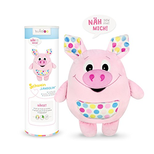 kullaloo - Näh-Set/Materialset zum Selber Machen: Kuscheltier/Kissen Schwein Landolin - rosa, in schicker Dose (D/EN)