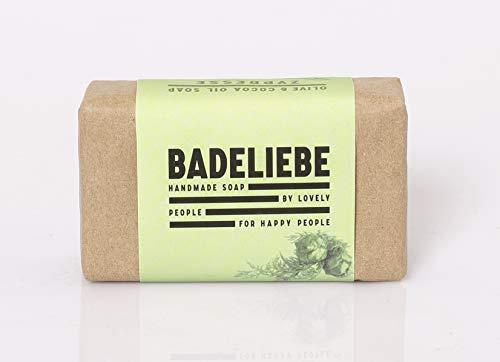 BADELIEBE Hartes Seifenstück mit Zypresse, Oliven- & Kokosnuss-Öl – 115 g vegane Hartseife als Seifenbasis für Hände, Gesicht & Körper – Frei von Palmöl und Tierversuchen