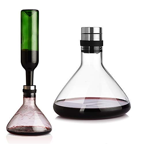 ORTHOME Wein-Entlüftungskaraffe mit Deckel, 50 ml, 100 % mundgeblasen, bleifrei, hitzebeständiges Glas, Rotwein-Karaffe, Weingeschenk, Wein-Accessoires, Geschenk