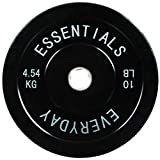 Everyday Essentials Color Coded Olympic Bumper Plate Weight Plate w Steel Hub, Single, Black (NEWEE)