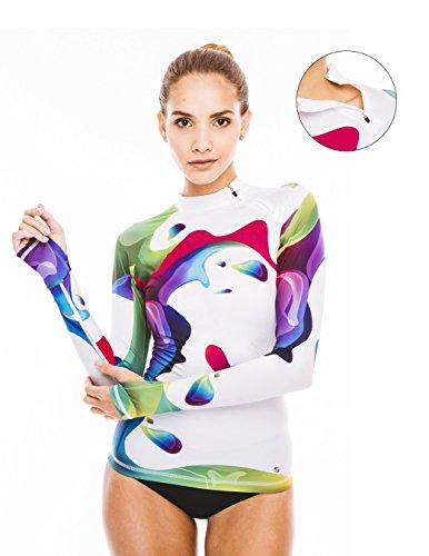 Women's Rash Guard Swim Shirt Long Sleeve Swimsuit Top Bathing Swimming Shirts - Sun Protection Clothing UPF 50 (Rainbow 50, L)