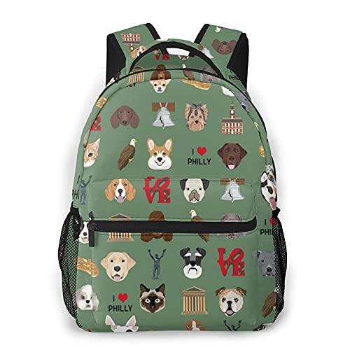 Philadelphia Dogs - Mochila de viaje con estampado de perros y Philly - Bolsa de viaje verde resistente al agua para niños y niñas, colegio, senderismo, camping, verde