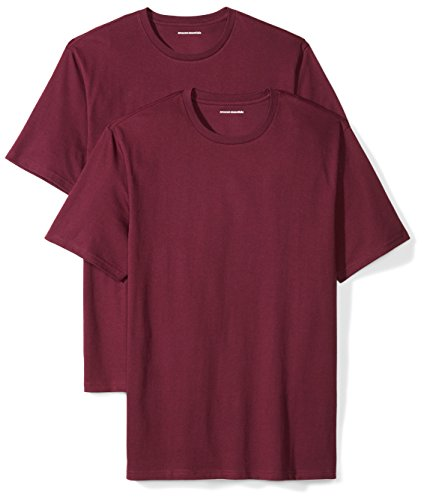 Amazon Essentials Men's 2-Pack Loose-Fit Short-Sleeve Crewneck T-Shirts, burgundy, Large