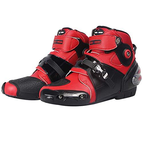 Sooiy Motocicleta Botas de Cuero Impermeable de protección Botas de Carreras de Motocross en Carretera Crash Protectora con Cremallera Zapatos gratuitos,Rojo,45