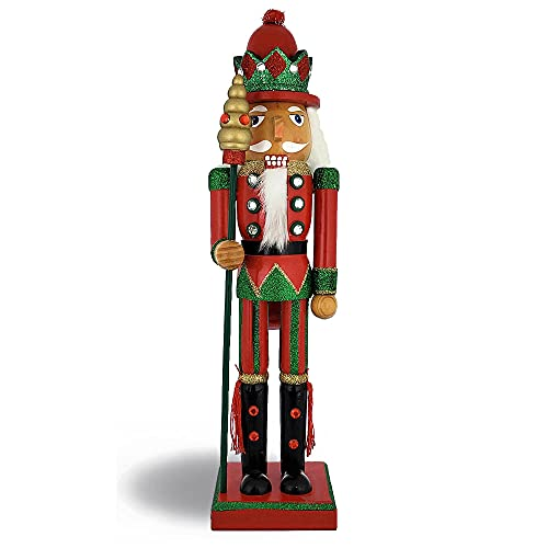 Christmas Holiday Wooden Nutcracker Figure Soldier with Traditional Red and Green Uniform Jacket and Snowflake Hat with Red Sparkle Rhinestone Details, Large, 15 Inch