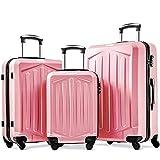 Takefuns Juego de 3 maletas de plástico ABS ligero con 4 ruedas giratorias, juego de maleta de 3 años de garantía (20/24/28, oro rosa)