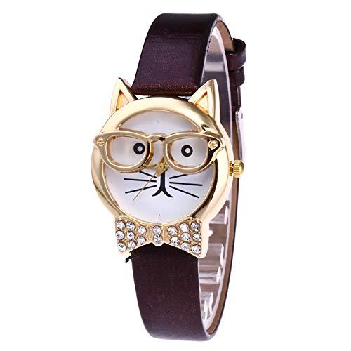 AchidistviQ Cara de gato lindo esfera redonda diamantes de imitación de cuero de las mujeres analógica reloj de pulsera de cuarzo animal gato cara diamante bow-tie gafas gato reloj de cuarzo