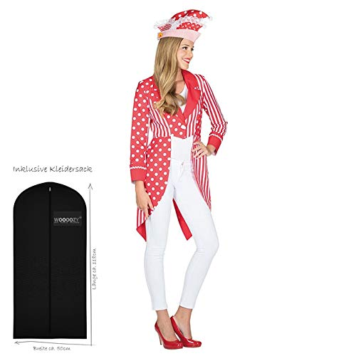 WOOOOZY Damen-Kostüm Frack rot-weiß, Gr. 42 - inklusive praktischem Kleidersack
