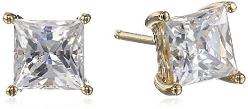 Yellow Gold Plated Sterling Silver Stud Earrings set with Princess Brilliant Cut Swarovski Zirconia (2 cttw)