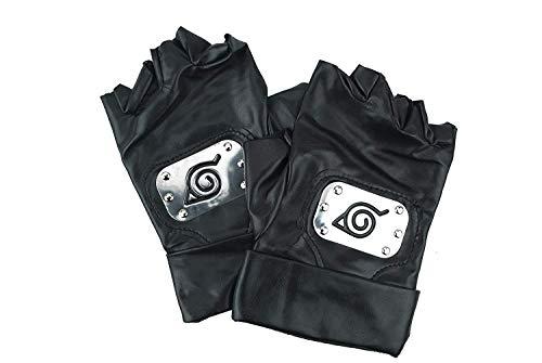 Handschuhe von Naruto Kakashi Hatake Konoha Cosplay Kostüm, Black Leather Gloves Konoha Schwarze Lederhandschuhe