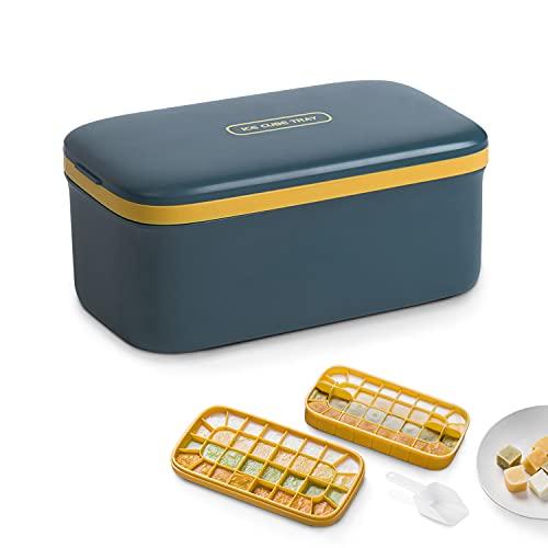 Gefrierform Babynahrung BPA-freie Silikon 64-Eiswürfelform Eiswürfelschalen mit Deckel,Bento-Box Babynahrung Aufbewahrung (Dunkelblau)