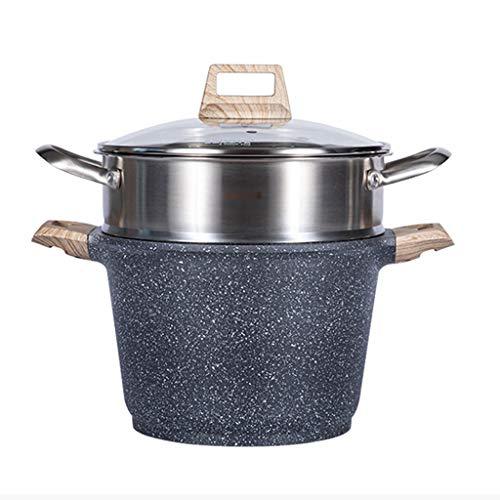 EODNSOFN Maifan Piedra Vapor y Sopa de Olla, de 2 Capas vaporizador Combinado Gran Capacidad de Sopa en Polvo Cocina de inducción y Estufa de Gas