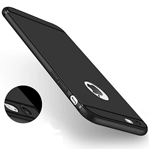MOBICLONICS® Soft Silicone with Anti Dust Plugs Shockproof Slim Back Cover Case for iPhone 6/iPhone 6s -Black