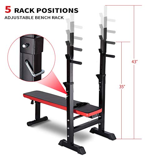 Adjustable Weight Bench with Rack Foldable Workout Exercise Fitness Bench and Squat Rack for Home Gym Full Body Multi-Function Workout