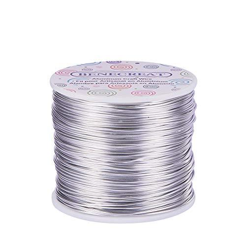 BENECREAT 150m Filo di Alluminio Anodizzato Che Fa Bordare Fili di Alluminio per Mestiere Design Gioiello(1mm- Argento)