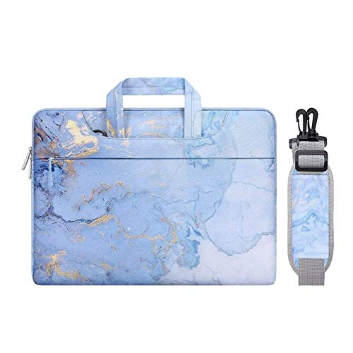 MOSISO Laptop Shoulder Bag Compatible with MacBook Pro 16 inch A2141 2020 2019, 15 15.4 15.6 inch Dell Lenovo HP Asus Acer Samsung Chromebook, Polyester Watercolor Marble Briefcase Sleeve, Blue