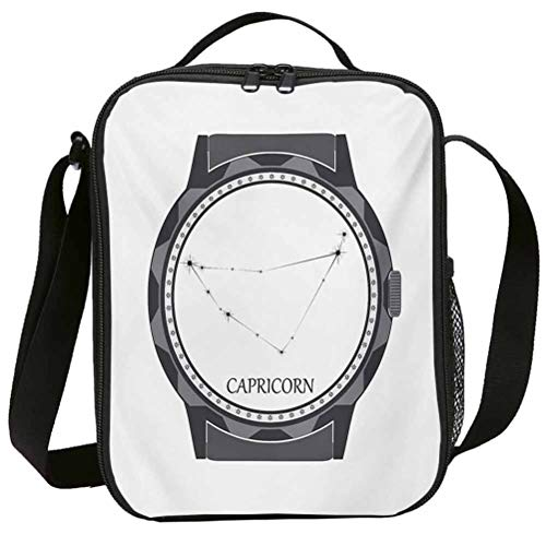Lunch Bags with Zipper Insulated Lunchbox for School Girls Zodiac Capricorn Greyscale Watch Dial