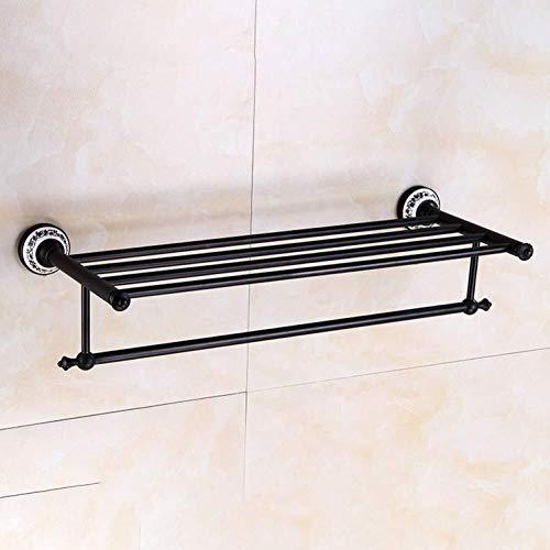 ZfgG Toalla Europea Estante Todas Cobre Porcelana Azul y Blanca Toalla Rack Negro Estante de Toalla de baño Accesorios