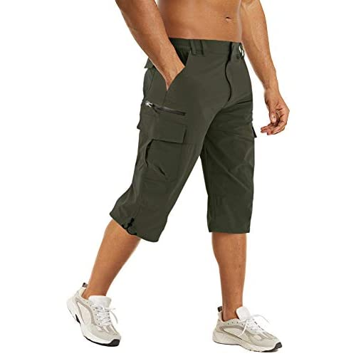 TACVASEN Men's Quick Dry Shorts Cargo 3/4 Shorts Outdoor Hiking Shorts with Multi-Pockets