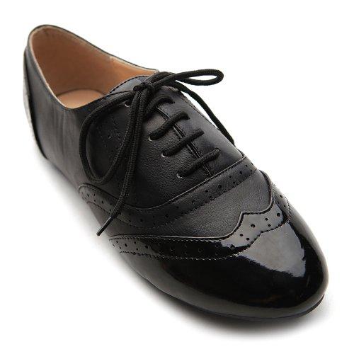 Ollio Women's Shoe Classic Lace Up Dress Low Flat Heel Oxford M1914(8 B(M) US, Black-Black)