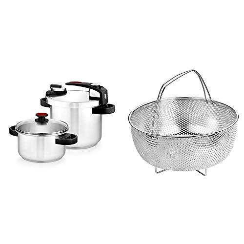 BRA Tekna - Set de ollas a presión rápida, 4 y 7 litros de fácil Uso, Acero Inoxidable 18/10, Incluye Tapa Cristal + Cestillo Multiusos de Acero Inoxidable para una Cocina al Vapor.