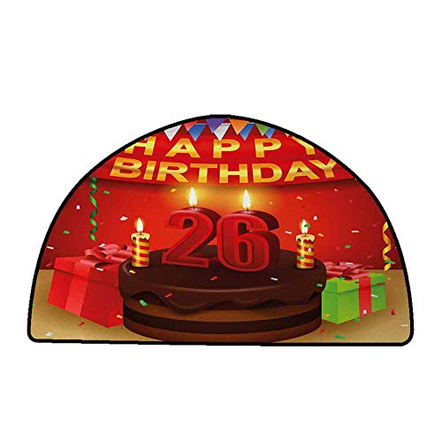 Rug Bathroom Mat 26th Birthday,Chocolate Cake with Candles and Ribbons Surprise Event Best Wishes Image,Multicolor,W31 x L20 Half Round Carpet Flooring