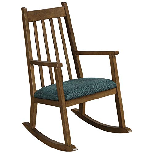 COSTWAY Kids Rocking Chair, Wooden Mini Rocker Relaxing Lounger Chair with Cushion, Ergonomic Toddler Armchair for Child Bedroom Playroom (Walnut)