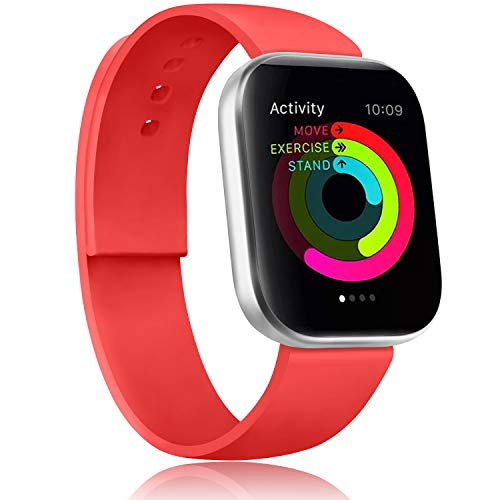 Gomei Cinturino Compatibile per Apple Watch 44mm 38mm 42mm 40mm, Silicone Cinturino Impermeabile in Traspiranti Morbidi per iwatch Serie 5, 4, 3, 2, 1 (42/44mm M/L, Rosso-Arancio)