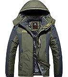 XinYangNi Mens Winter Fleece Windproof Waterproof Ski Outdoor Mountain Coat Jacket with Detachable Hood Green US L/Asia 4XL