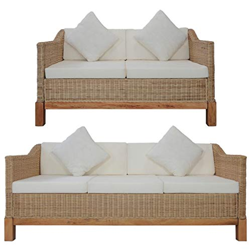 vidaXL Sofagarnitur 2-TLG. mit Auflagen Sofa Couch Loungesofa Sitzmöbel Wohnzimmersofa Rattansofa Couchgarnitur Designsofa Natur Rattan